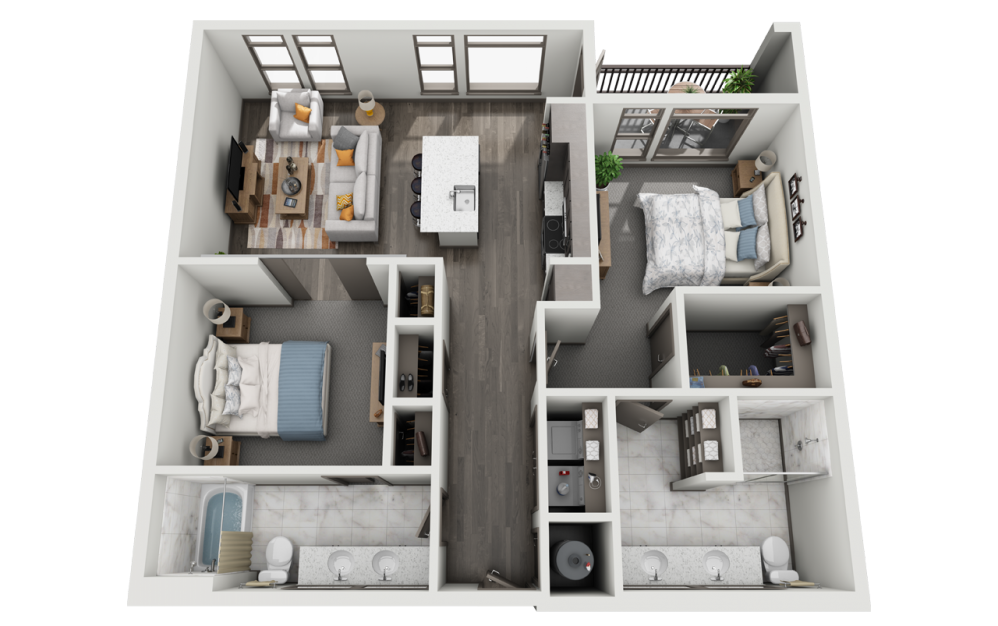 2A - 2 bedroom floorplan layout with 2 baths and 1128 to 1186 square feet.