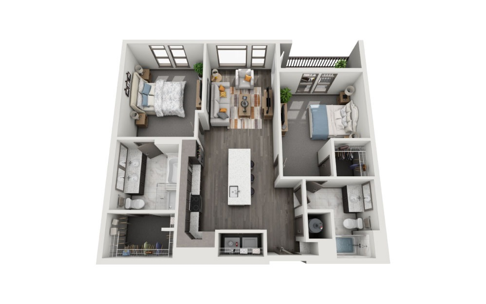 2C - 2 bedroom floorplan layout with 2 baths and 1173 to 1234 square feet.
