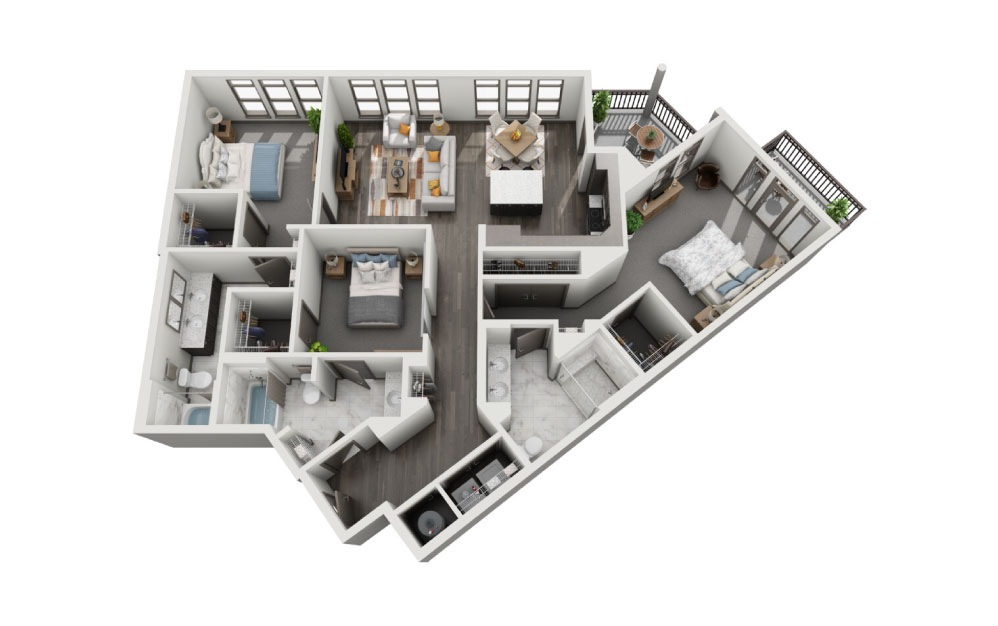 3B - 3 bedroom floorplan layout with 3 baths and 1668 to 1832 square feet.
