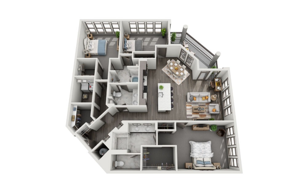 3C - 3 bedroom floorplan layout with 2 baths and 1963 to 2115 square feet.