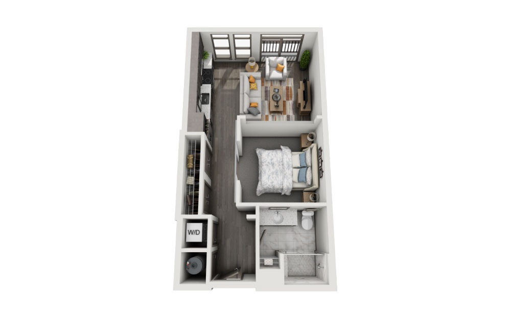 SB - 1 bedroom floorplan layout with 1 bath and 594 to 602 square feet.