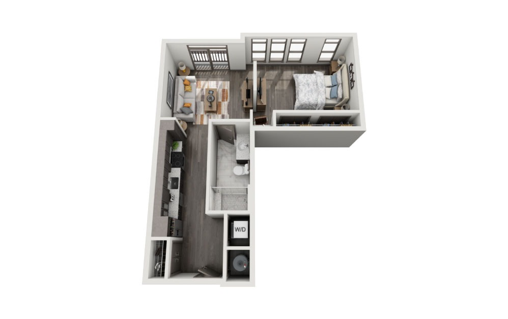 SC - 1 bedroom floorplan layout with 1 bath and 712 to 725 square feet.