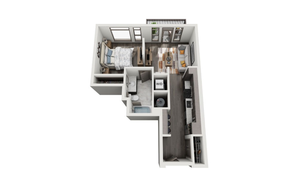 SD - 1 bedroom floorplan layout with 1 bath and 638 to 694 square feet.