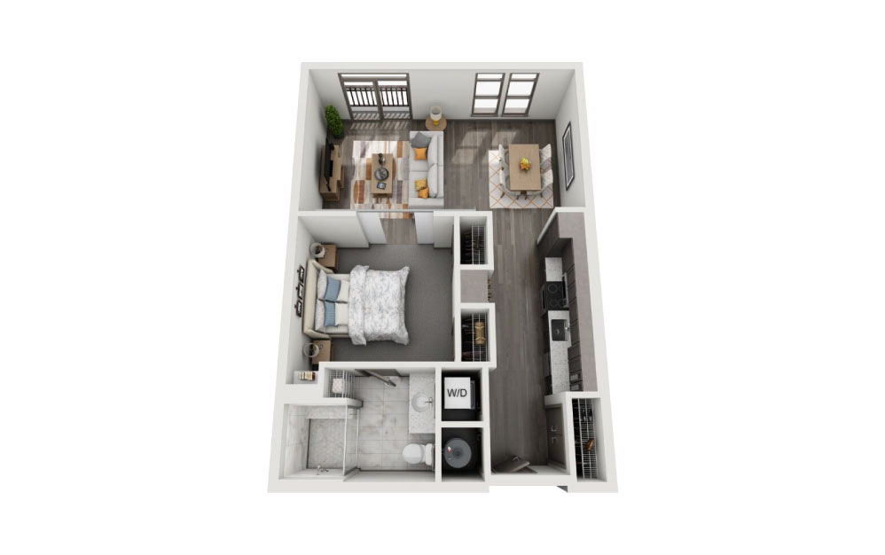 SE - 1 bedroom floorplan layout with 1 bath and 776 to 786 square feet.