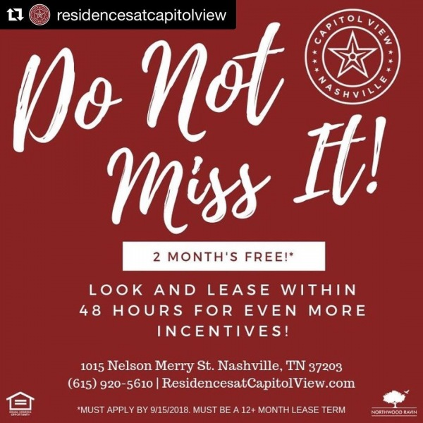 Looking for a great place to live? Check out the Residences at Capitol View! ・・・ #Repost @residencesatcapitolview ・・・ We would hate for you to miss out on this opportunity. Be sure to call the leasing office for more details, we look forward to hearing from you. . . . #residencesatCapitolView #liveyourpointofview #thisisNWRliving #FreeRent